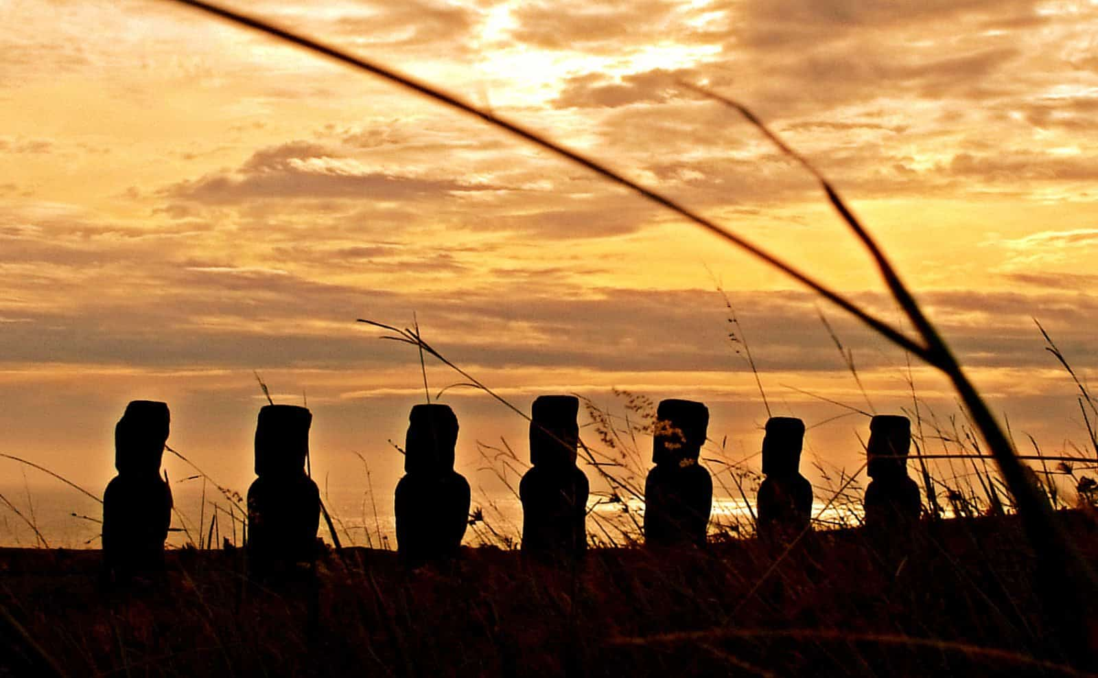 Moai im Sonnenuntergang auf der Osterinsel